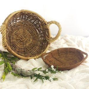 Set of 2 natural woven round handle baskets
